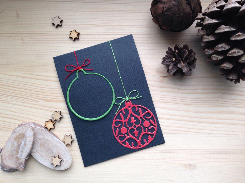 Открытка хенд мейд новогодняя, открытка для