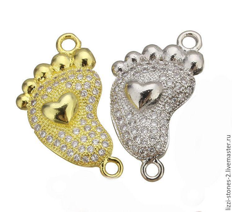 Коннектор Ножка серебро и золото (Milano) Евгения (Lizzi-stones-2)