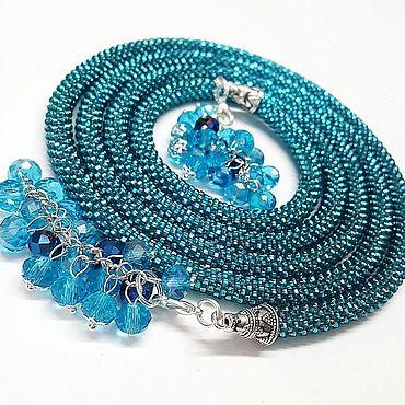 Decorations handmade. Livemaster - original item Lariat necklaces knitted beaded