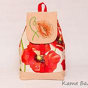 Сумки и аксессуары ручной работы. Ярмарка Мастеров - ручная работа Городской рюкзак с вышивкой Красный мак. Handmade.