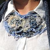 Украшения ручной работы. Ярмарка Мастеров - ручная работа Колье  джинс Синее море текстильное. Handmade.
