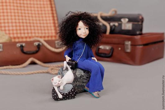 Коллекционные куклы ручной работы. Ярмарка Мастеров - ручная работа. Купить Чемоданное настроение. Handmade. Синий, чемодан, темно коричневый