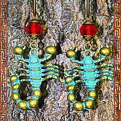 Украшения ручной работы. Ярмарка Мастеров - ручная работа Стильные длинные серьги Зелёный Скорпион. Handmade.