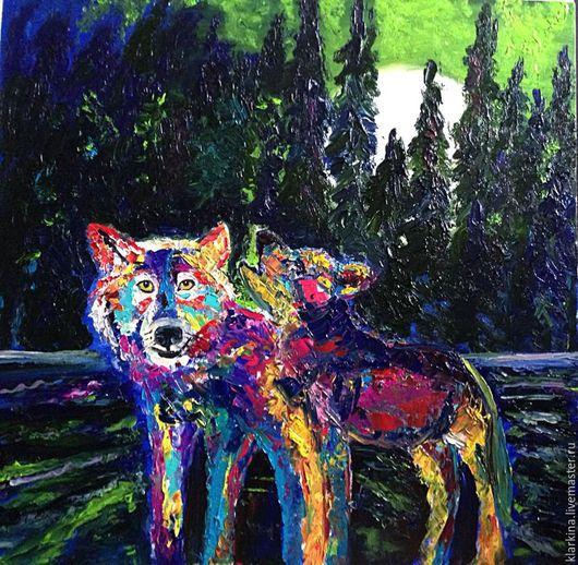 Животные ручной работы. Ярмарка Мастеров - ручная работа. Купить Первая охота. Волки.. Handmade. Разноцветный, картина маслом, картина