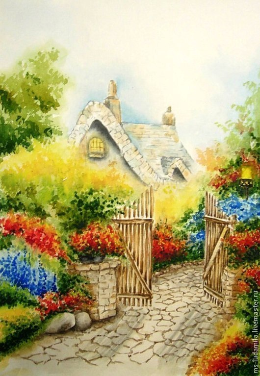 """Картины цветов ручной работы. Ярмарка Мастеров - ручная работа. Купить Акварель Картина """"Скрытые"""". Handmade. Желтый, садовые цветы"""