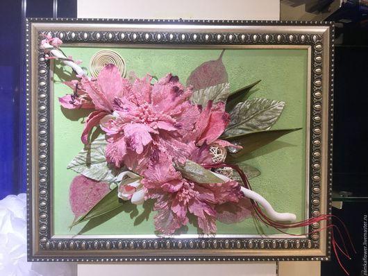 Фантазийные сюжеты ручной работы. Ярмарка Мастеров - ручная работа. Купить Коллаж флористический. Handmade. Розовый, акриловый краски