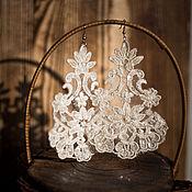ручной работы. Ярмарка Мастеров - ручная работа Кружевные свадебные серьги. Handmade.
