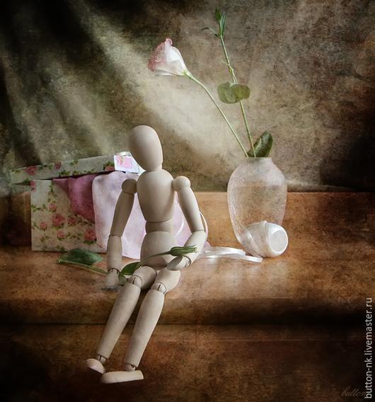 Фотокартины ручной работы. Ярмарка Мастеров - ручная работа. Купить натюрморт   с манекеном и бутоном грусть. Handmade. Бледно-розовый, бежевый