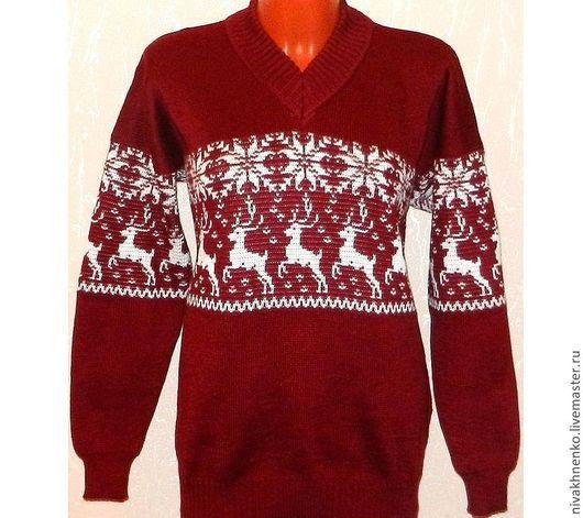 Кофты и свитера ручной работы. Ярмарка Мастеров - ручная работа. Купить Вязаный свитер с оленями. Handmade. Бордовый, свитер с рисунком