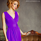 Одежда ручной работы. Ярмарка Мастеров - ручная работа Короткое платье с юбкой-солнце тёмный фиолет. Handmade.