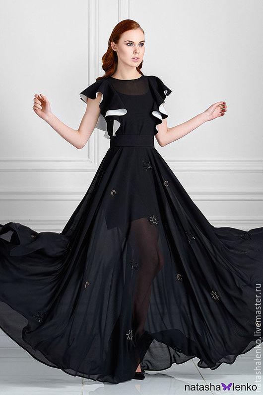 Платья ручной работы. Ярмарка Мастеров - ручная работа. Купить Вечернее платье.. Handmade. Чёрно-белый, платье в пол, по акции
