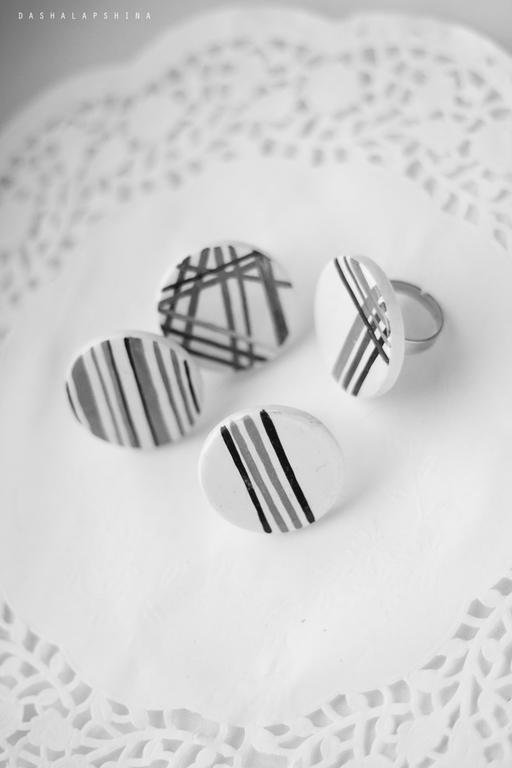 """Кольца ручной работы. Ярмарка Мастеров - ручная работа. Купить Кольца с росписью  """"Gray Geometry"""". Handmade. Чёрно-белый, чернобелое"""