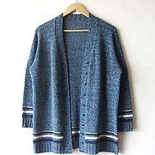 """Одежда ручной работы. Ярмарка Мастеров - ручная работа Кардиган твидовый """"Джинс""""продан. Handmade."""