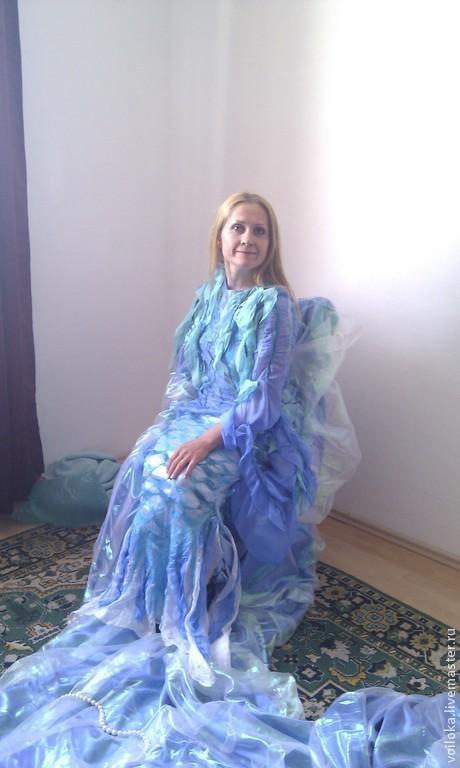 """Платья ручной работы. Ярмарка Мастеров - ручная работа. Купить Платье """"Русалка"""". Handmade. Голубой, платье летнее, нарядное платье"""