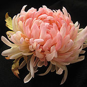 Украшения handmade. Livemaster - original item Silk flowers.Decoration brooch pin PINK CHRYSANTHEMUM. Handmade.