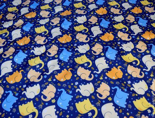 """Шитье ручной работы. Ярмарка Мастеров - ручная работа. Купить Плащевка """"Слоники"""". Handmade. Синий, ткань для шитья, ткани, для девочек"""