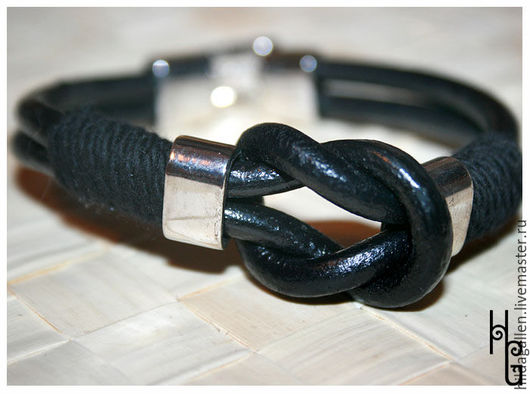 """Браслеты ручной работы. Ярмарка Мастеров - ручная работа. Купить Кожаный браслет """"Морской узел"""". Handmade. Черный, кожаный браслет"""