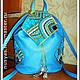 """Рюкзаки ручной работы. Ярмарка Мастеров - ручная работа. Купить Рюкзак """"Бирюзовая геометрия"""". Handmade. Рюкзак кожаный, кожа натуральная"""