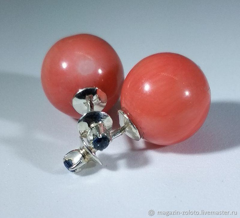 Серьги шары с кораллами и сапфирами, Серьги классические, Москва,  Фото №1