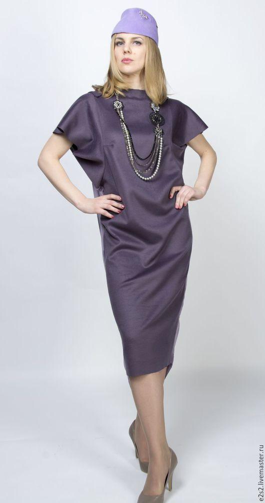 Платья ручной работы. Ярмарка Мастеров - ручная работа. Купить Платье шерстяное с драпированной спинкой Флай. Handmade. Тёмно-фиолетовый