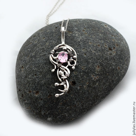 авторская работа, оригинальное украшение, подарок, серебряный, изящное украшение, серебряное украшение, день рождения, комплект, рассвет, розовый, Украшение ручной работы, украшение на каждый день