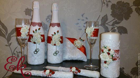 Свадебные аксессуары ручной работы. Ярмарка Мастеров - ручная работа. Купить Свадебный набор  Бело-Красный. Handmade. Ярко-красный