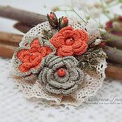 Украшения handmade. Livemaster - original item Knitted brooch. Brooch bouquet. flower brooch. Brooch boho. Brooch coral. Handmade.