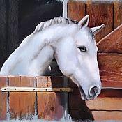 Картины и панно handmade. Livemaster - original item Pastel painting of a Horse (white brown black). Handmade.