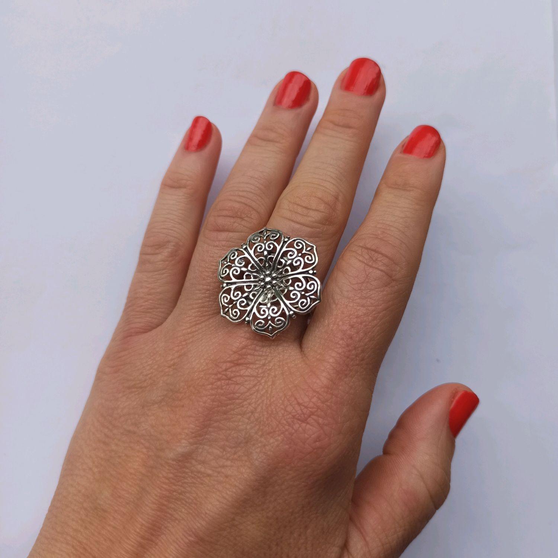 Filigree Ring Flower. 925 sterling silver. Fancy ring, Rings, Turin,  Фото №1