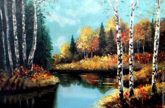 """Пейзаж ручной работы. Ярмарка Мастеров - ручная работа. Купить """"Березы.Осень."""". Handmade. Разноцветный, пейзаж осени"""