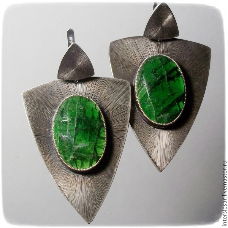 Earrings with diopside Cobra, Earrings, Moscow,  Фото №1