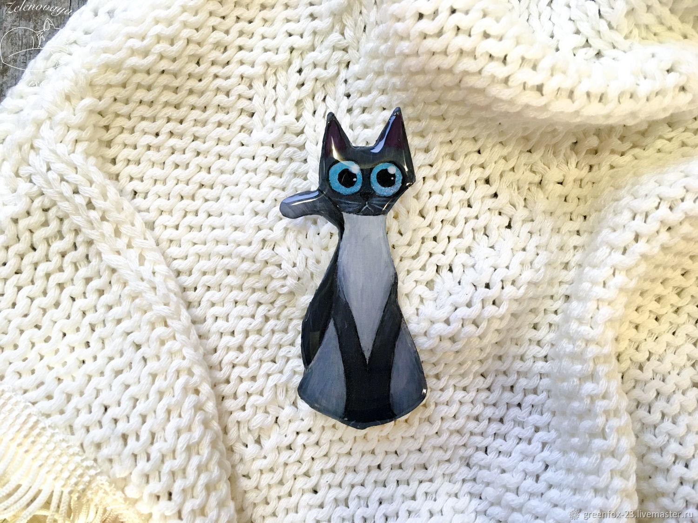 Brooch ' Gray cat with blue eyes, black, cute', Brooches, Bryukhovetskaya,  Фото №1