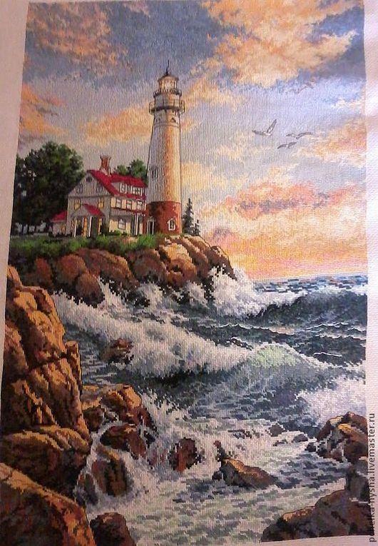"""Пейзаж ручной работы. Ярмарка Мастеров - ручная работа. Купить вышитая картина """"Маяк"""". Handmade. Вышитая картина, маяк, пейзаж"""