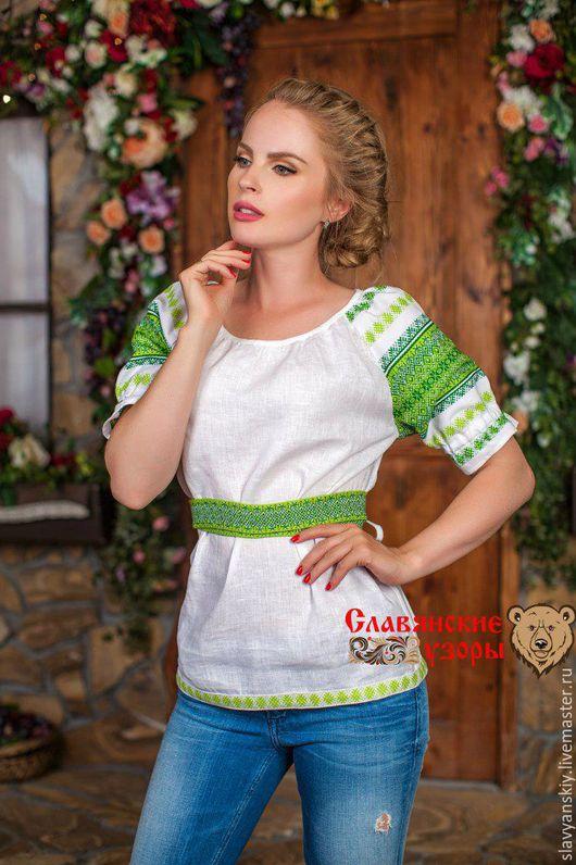 """Блузки ручной работы. Ярмарка Мастеров - ручная работа. Купить Блуза """"Чаровница"""" зеленая. Handmade. Белый, салатовая, летняя, зеленая"""