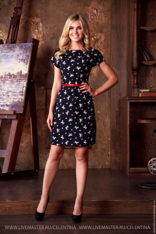 Короткое летнее платье свободного кроя, платье до колена, темно синее платье с коротким рукавом, прямое платье на лето, платье с модным принтом, платье в отпуск, платье для отдыха, летнее пляжное