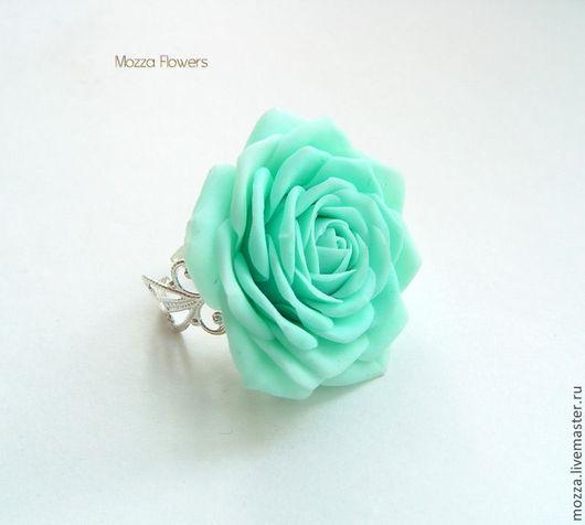 """Кольцо """"Мятная роза"""". Цветы из полимерной глины."""