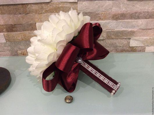 """Свадебные цветы ручной работы. Ярмарка Мастеров - ручная работа. Купить Букет дублер """" Пион"""" ( цвет марсала). Handmade."""