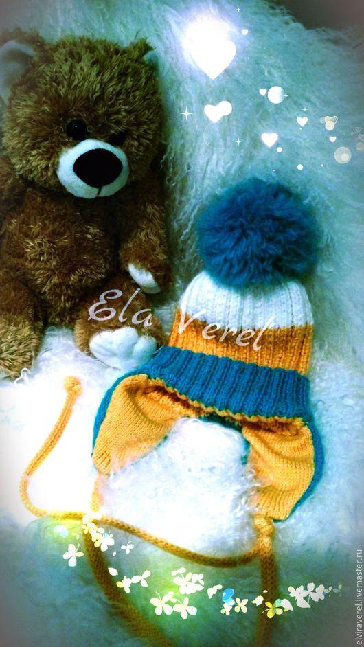 Шапки и шарфы ручной работы. Ярмарка Мастеров - ручная работа. Купить Вязаный комплект для малыша. Шапочка и манишка - воротничок. Handmade.
