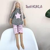 Куклы и игрушки handmade. Livemaster - original item Tilda doll-pink hair)) - textile dolls. Handmade.
