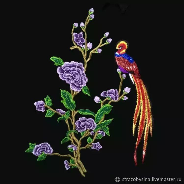Аппликации, вставки, отделка ручной работы. Ярмарка Мастеров - ручная работа. Купить Аппликация 'Райские птицы в цветах'. Handmade.