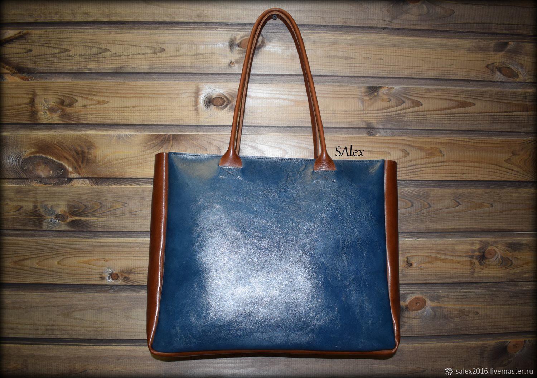 Женские сумки ручной работы. Ярмарка Мастеров - ручная работа. Купить Сумка-тоут из кожи растительного дубления - синий-коричневый. Handmade.