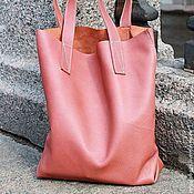 Сумка-мешок ручной работы. Ярмарка Мастеров - ручная работа Кожаная сумка - мешок ( Шоппер розовый ). Handmade.