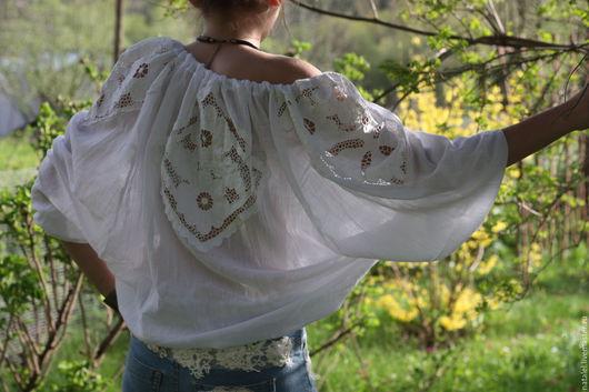 Блузки ручной работы. Ярмарка Мастеров - ручная работа. Купить Блузка с кружевом ришелье, БОХО, белая блузка, прованс.. Handmade.