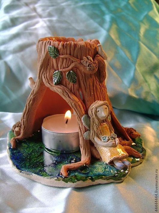 Подсвечники ручной работы. Ярмарка Мастеров - ручная работа. Купить Аромолампа Лесной свет Керамика. Handmade. Аромолампа, лесной житель