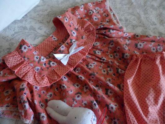 """Одежда для девочек, ручной работы. Ярмарка Мастеров - ручная работа. Купить Пижама для девочки """"Мандариновое ретро"""". Handmade. Рыжий, хлопок"""