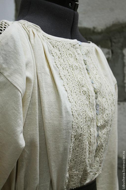 Блузки ручной работы. Ярмарка Мастеров - ручная работа. Купить Рубаха Русские мотивы. Handmade. Бежевый, одежда льняная, этно