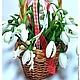 Новый год 2017 ручной работы. Корзина с подснежниками. полимерные цветы Perfect. Ярмарка Мастеров. Белые цветы, цветы ручной работы