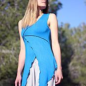 """Одежда ручной работы. Ярмарка Мастеров - ручная работа Летний Топ """"Тева"""" трикотажный синий. Handmade."""