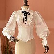 Одежда handmade. Livemaster - original item Victorian White Penny Blouse Shirt. Handmade.