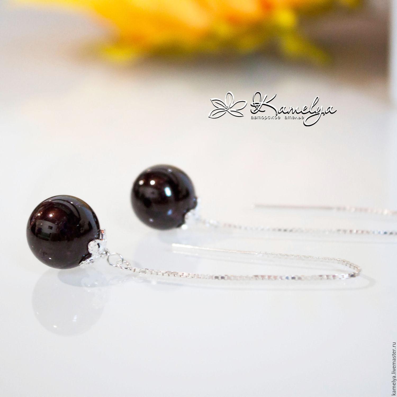 silver earrings broach with garnet 'coco chanel' 925 silver, Earrings, Yaroslavl,  Фото №1